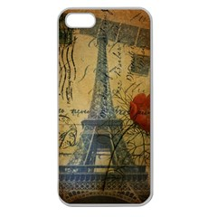 Vintage Stamps Postage Poppy Flower Floral Eiffel Tower Vintage Paris Apple Seamless Iphone 5 Case (clear) by chicelegantboutique