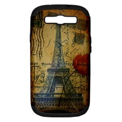 Vintage Stamps Postage Poppy Flower Floral Eiffel Tower Vintage Paris Samsung Galaxy S Iii Hardshell Case (pc+silicone) by chicelegantboutique