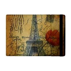 Vintage Stamps Postage Poppy Flower Floral Eiffel Tower Vintage Paris Apple Ipad Mini Flip Case by chicelegantboutique