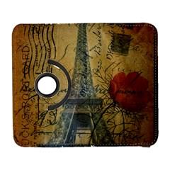 Vintage Stamps Postage Poppy Flower Floral Eiffel Tower Vintage Paris Samsung Galaxy S  Iii Flip 360 Case by chicelegantboutique