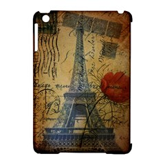 Vintage Stamps Postage Poppy Flower Floral Eiffel Tower Vintage Paris Apple Ipad Mini Hardshell Case (compatible With Smart Cover) by chicelegantboutique
