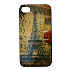 Vintage Stamps Postage Poppy Flower Floral Eiffel Tower Vintage Paris Apple Iphone 4/4s Hardshell Case With Stand by chicelegantboutique