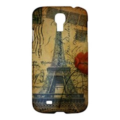 Vintage Stamps Postage Poppy Flower Floral Eiffel Tower Vintage Paris Samsung Galaxy S4 I9500/i9505 Hardshell Case by chicelegantboutique