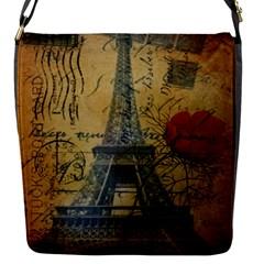 Vintage Stamps Postage Poppy Flower Floral Eiffel Tower Vintage Paris Flap Closure Messenger Bag (small) by chicelegantboutique