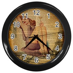 Vintage Newspaper Print Pin Up Girl Paris Eiffel Tower Wall Clock (black) by chicelegantboutique