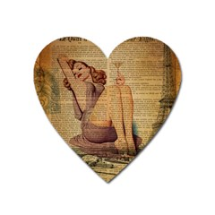 Vintage Newspaper Print Pin Up Girl Paris Eiffel Tower Magnet (heart) by chicelegantboutique