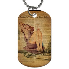 Vintage Newspaper Print Pin Up Girl Paris Eiffel Tower Dog Tag (two Sided)  by chicelegantboutique
