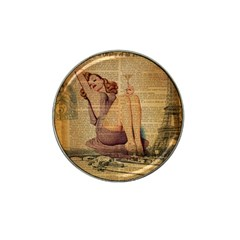 Vintage Newspaper Print Pin Up Girl Paris Eiffel Tower Golf Ball Marker 10 Pack (for Hat Clip) by chicelegantboutique