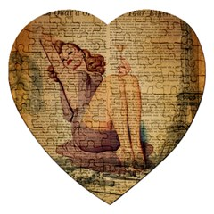 Vintage Newspaper Print Pin Up Girl Paris Eiffel Tower Jigsaw Puzzle (heart) by chicelegantboutique
