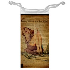Vintage Newspaper Print Pin Up Girl Paris Eiffel Tower Jewelry Bag by chicelegantboutique