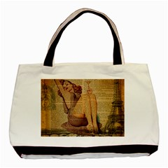 Vintage Newspaper Print Pin Up Girl Paris Eiffel Tower Classic Tote Bag by chicelegantboutique