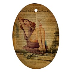 Vintage Newspaper Print Pin Up Girl Paris Eiffel Tower Oval Ornament (two Sides) by chicelegantboutique