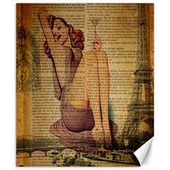 Vintage Newspaper Print Pin Up Girl Paris Eiffel Tower Canvas 8  X 10  (unframed) by chicelegantboutique