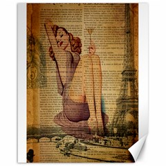 Vintage Newspaper Print Pin Up Girl Paris Eiffel Tower Canvas 16  X 20  (unframed) by chicelegantboutique