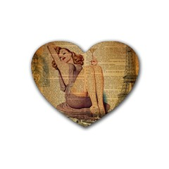 Vintage Newspaper Print Pin Up Girl Paris Eiffel Tower Drink Coasters (Heart) by chicelegantboutique