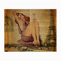 Vintage Newspaper Print Pin Up Girl Paris Eiffel Tower Glasses Cloth (small, Two Sided) by chicelegantboutique