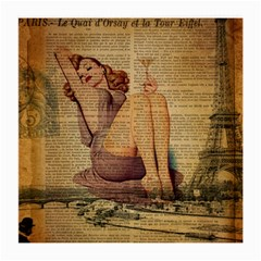 Vintage Newspaper Print Pin Up Girl Paris Eiffel Tower Glasses Cloth (medium) by chicelegantboutique