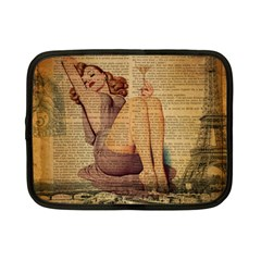Vintage Newspaper Print Pin Up Girl Paris Eiffel Tower Netbook Case (small) by chicelegantboutique