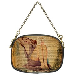 Vintage Newspaper Print Pin Up Girl Paris Eiffel Tower Chain Purse (one Side) by chicelegantboutique