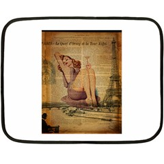 Vintage Newspaper Print Pin Up Girl Paris Eiffel Tower Mini Fleece Blanket (two Sided) by chicelegantboutique
