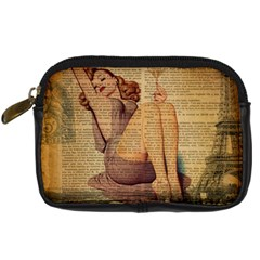 Vintage Newspaper Print Pin Up Girl Paris Eiffel Tower Digital Camera Leather Case by chicelegantboutique
