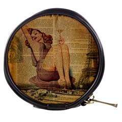 Vintage Newspaper Print Pin Up Girl Paris Eiffel Tower Mini Makeup Case by chicelegantboutique