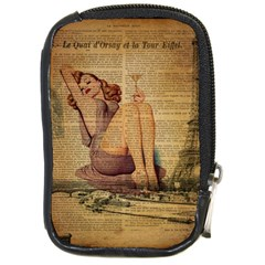 Vintage Newspaper Print Pin Up Girl Paris Eiffel Tower Compact Camera Leather Case by chicelegantboutique
