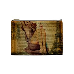 Vintage Newspaper Print Pin Up Girl Paris Eiffel Tower Cosmetic Bag (medium) by chicelegantboutique