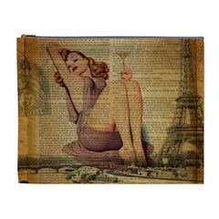 Vintage Newspaper Print Pin Up Girl Paris Eiffel Tower Cosmetic Bag (xl) by chicelegantboutique