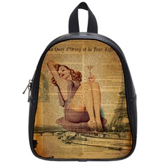 Vintage Newspaper Print Pin Up Girl Paris Eiffel Tower School Bag (small) by chicelegantboutique