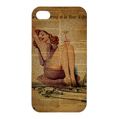 Vintage Newspaper Print Pin Up Girl Paris Eiffel Tower Apple Iphone 4/4s Hardshell Case by chicelegantboutique