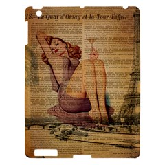 Vintage Newspaper Print Pin Up Girl Paris Eiffel Tower Apple Ipad 3/4 Hardshell Case by chicelegantboutique