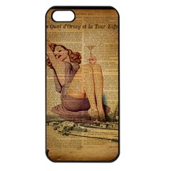 Vintage Newspaper Print Pin Up Girl Paris Eiffel Tower Apple Iphone 5 Seamless Case (black) by chicelegantboutique