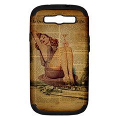 Vintage Newspaper Print Pin Up Girl Paris Eiffel Tower Samsung Galaxy S Iii Hardshell Case (pc+silicone) by chicelegantboutique