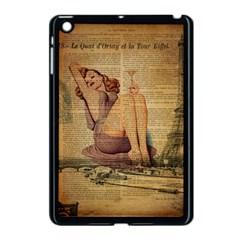Vintage Newspaper Print Pin Up Girl Paris Eiffel Tower Apple iPad Mini Case (Black)