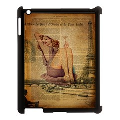 Vintage Newspaper Print Pin Up Girl Paris Eiffel Tower Apple Ipad 3/4 Case (black) by chicelegantboutique