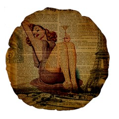 Vintage Newspaper Print Pin Up Girl Paris Eiffel Tower 18  Premium Round Cushion  by chicelegantboutique
