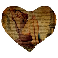 Vintage Newspaper Print Pin Up Girl Paris Eiffel Tower 19  Premium Heart Shape Cushion by chicelegantboutique