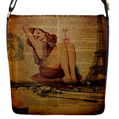 Vintage Newspaper Print Pin Up Girl Paris Eiffel Tower Flap Closure Messenger Bag (small) by chicelegantboutique