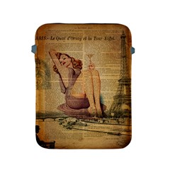 Vintage Newspaper Print Pin Up Girl Paris Eiffel Tower Apple Ipad 2/3/4 Protective Soft Case by chicelegantboutique