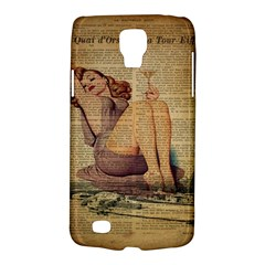 Vintage Newspaper Print Pin Up Girl Paris Eiffel Tower Samsung Galaxy S4 Active (i9295) Hardshell Case by chicelegantboutique