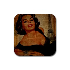 Vintage Newspaper Print Pin Up Girl Paris Eiffel Tower Drink Coasters 4 Pack (square) by chicelegantboutique