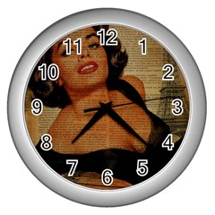Vintage Newspaper Print Pin Up Girl Paris Eiffel Tower Wall Clock (silver) by chicelegantboutique
