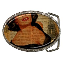 Vintage Newspaper Print Pin Up Girl Paris Eiffel Tower Belt Buckle (oval) by chicelegantboutique