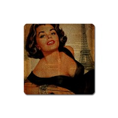 Vintage Newspaper Print Pin Up Girl Paris Eiffel Tower Magnet (square) by chicelegantboutique