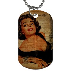 Vintage Newspaper Print Pin Up Girl Paris Eiffel Tower Dog Tag (one Sided) by chicelegantboutique