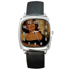 Vintage Newspaper Print Pin Up Girl Paris Eiffel Tower Square Leather Watch