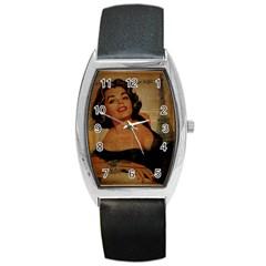 Vintage Newspaper Print Pin Up Girl Paris Eiffel Tower Tonneau Leather Watch by chicelegantboutique