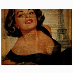 Vintage Newspaper Print Pin Up Girl Paris Eiffel Tower Canvas 8  X 10  (unframed) by chicelegantboutique