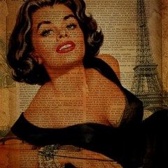 Vintage Newspaper Print Pin Up Girl Paris Eiffel Tower Canvas 16  X 16  (unframed) by chicelegantboutique
